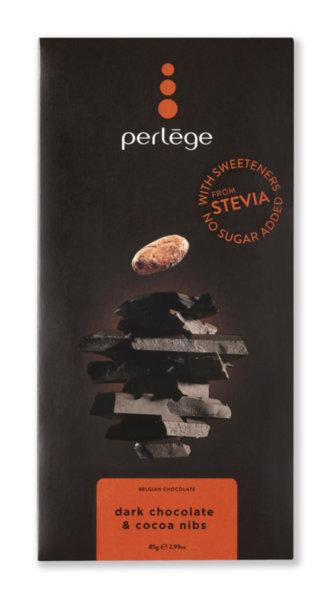 Perlége тъмен шоколад със счукани какаови зърна без захар